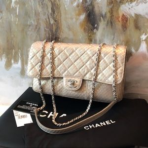 Chanel Metallic Gold Python Medium Clam Flap Bag